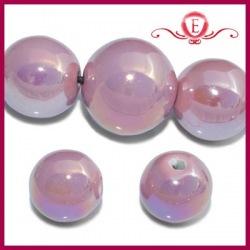 Koraliki ceramiczne lustrzane kule różowe