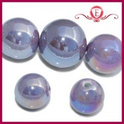 Koraliki ceramiczne lustrzane kule fioletowe