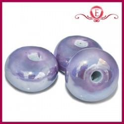 Koraliki ceramiczne oponki lustrzane fioletowe