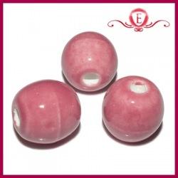 Koraliki ceramiczne beczułki różowe