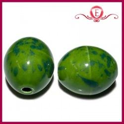 Koraliki ceramiczne oliwki zielone