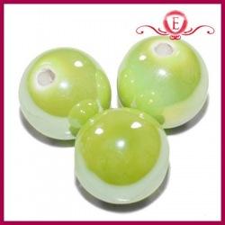 Koraliki ceramiczne lustrzane kule zielone
