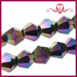 Koraliki szklane Bicone metallic rainbow