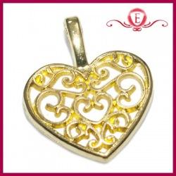 Zawieszka charms ażurowe serce kol. złoty