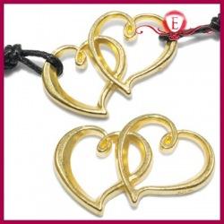 Ozdobny łącznik Dwa Serca kolor złoty