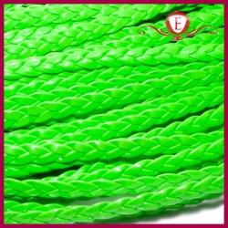 Rzemień pleciony płaski, neonowy zielony