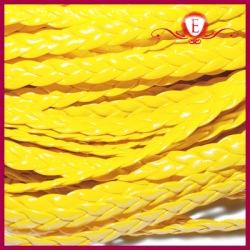 Rzemień pleciony płaski, żółty