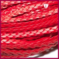 Rzemień pleciony płaski, czerwony