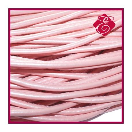 Rzemień szyty, metaliczny różowy