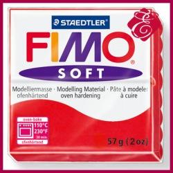 FIMO soft, modelina 57g, czerwień świąteczna