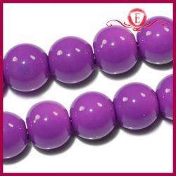 Koraliki szklane powlekane purpurowe 10mm