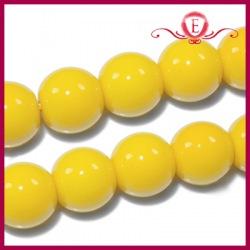 Koraliki szklane powlekane żółte 8mm