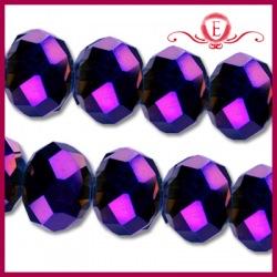 Szklane oponki fasetowane, metallic violet