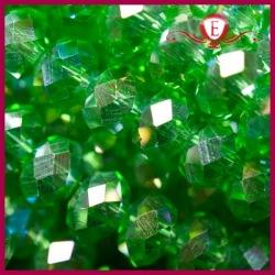 Szklane oponki fasetowane zielone AB