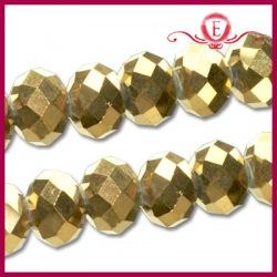 Szklane oponki fasetowane, gold