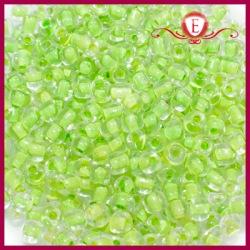 Koraliki szklane drobne - Crystal lime green lining