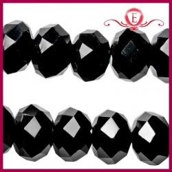 Szklane oponki fasetowane czarne